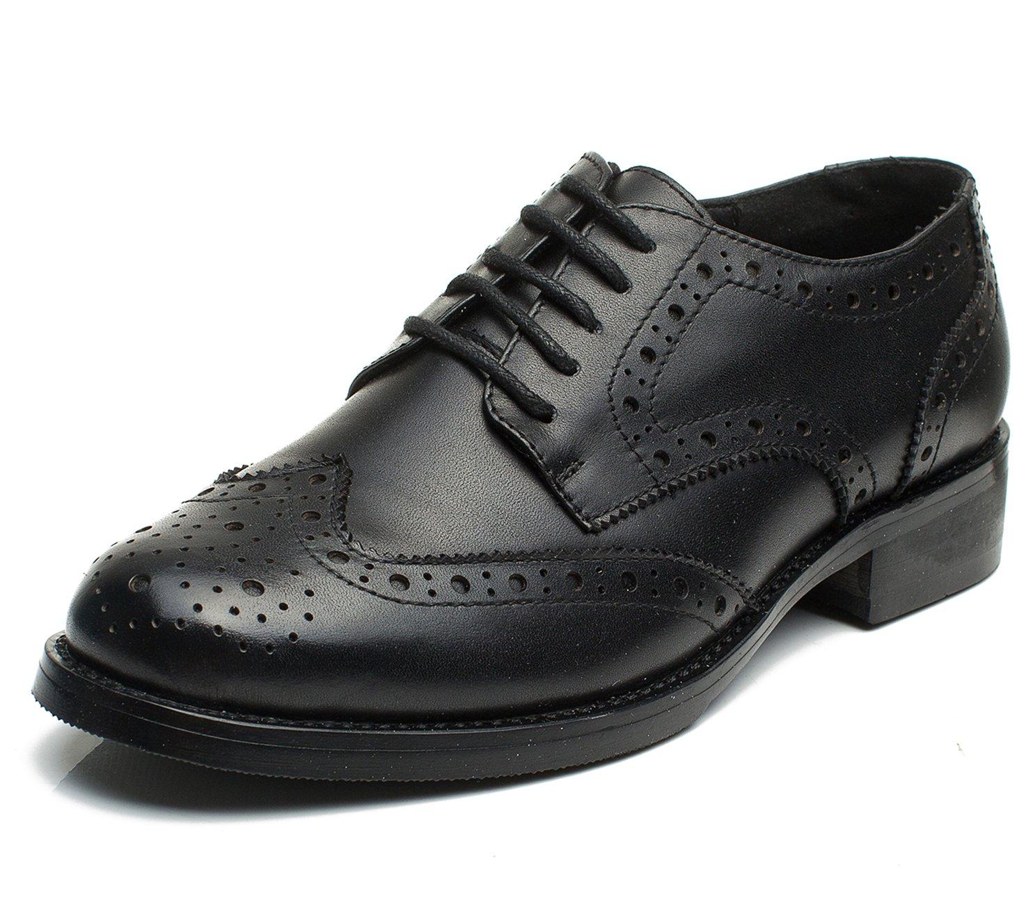 U-lite Black Women Brogues Lace-up Wingtip Leather Flat Oxfords Vintage Oxford Shoe Blk 8.5