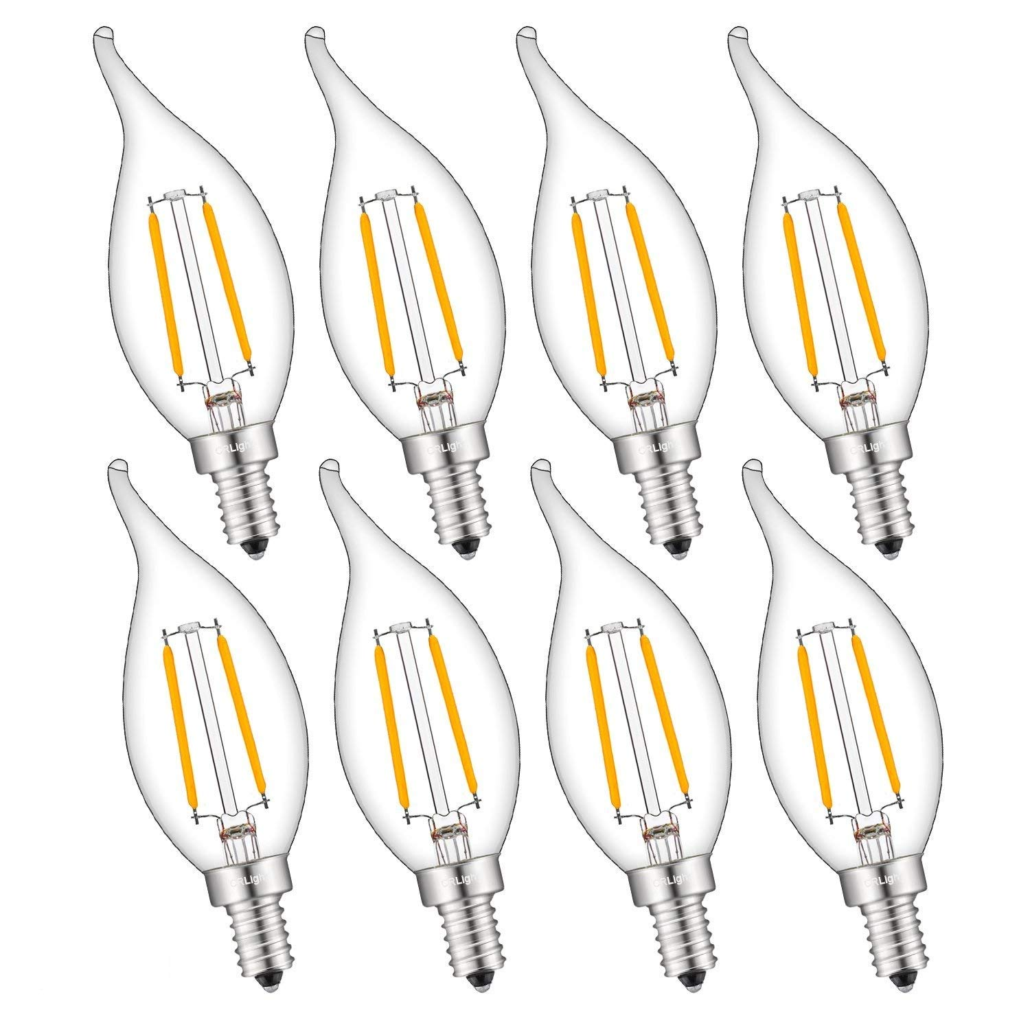 CRLight 2W 250LM Dimmable LED Candelabra Bulb 2500K Warm White, 25W Equivalent E12 Base LED Candle Bulbs, Antique CA11 Flame Shape Clear Glass Chandelier Light Bulbs, Pack of 8