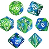 Polyhedral 7-Die Dice Set for Dungeons and Dragons with Black Pouch (Green Blue)