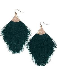 Humble Chic Fringe Tassel Statement Dangle Earrings - Lightweight Long Feather Drops