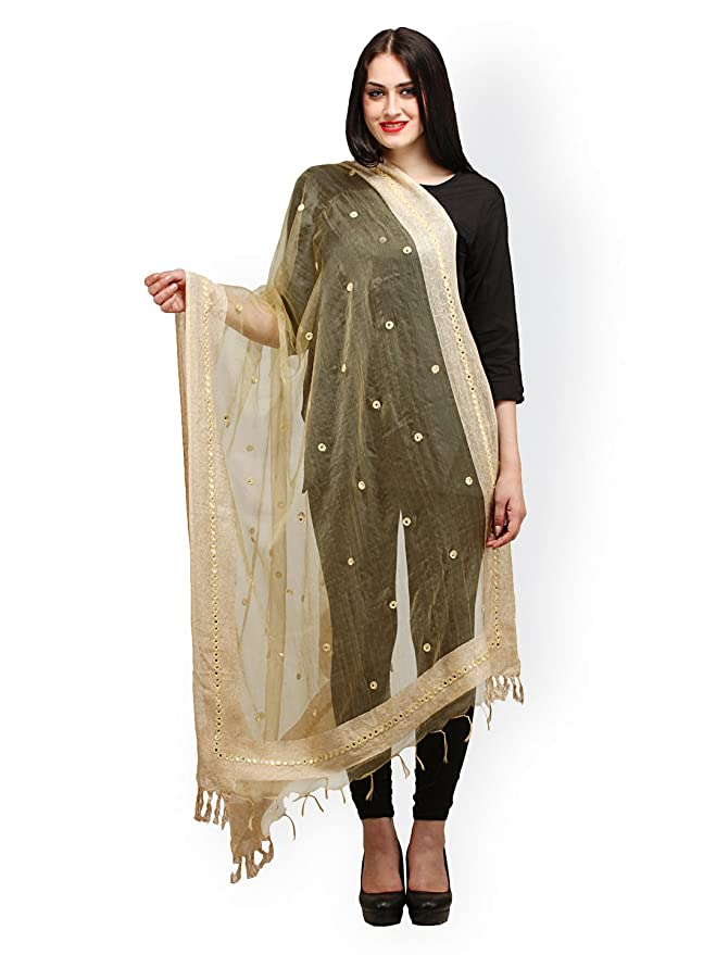 Womens traditional ethnic clothing apparel mirror work dupatta- Golden Dupattas & Stoles at amazon