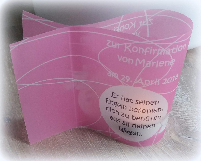 5x Tischlicht Windlicht Kommunion Konfirmatin Taufe Firmung individualisierbar mit Spruch rosa/pink