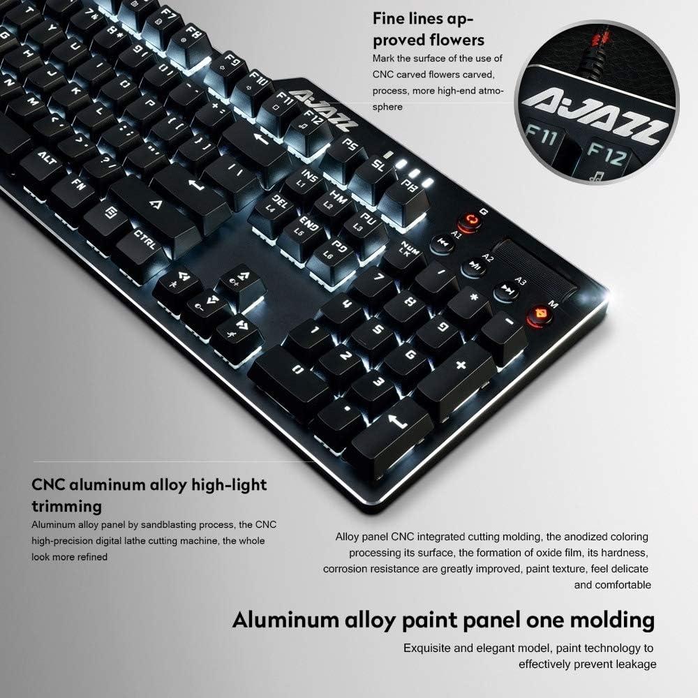 JINGZ AK35I Multimedia Knob Gaming Backlight Alloy Machinery Keyboard Premium Material Color : Color2