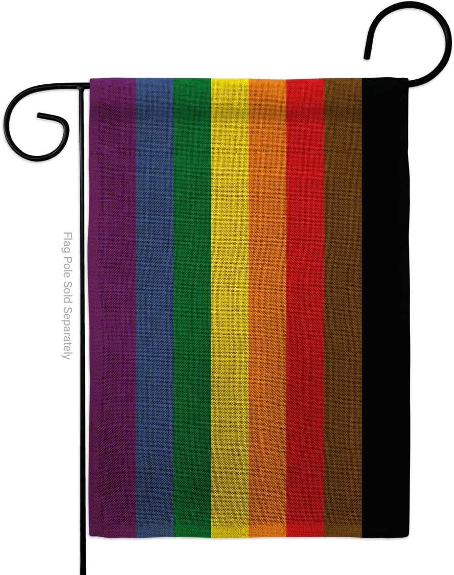 Americana Home & Garden Philadelphia Burlap Garden Support Pride Rainbow Love LGBT Gay Bisexual Pansexual Transgender Flag-House Decoration Banner Small Yard Gift Double-Sided, Thick, Made in USA