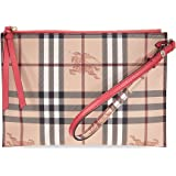 Burberry Haymarket Check and Leather Pouch - Coral Red