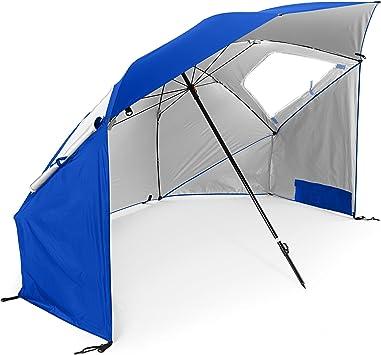 Sport Brella Super Brella Spf 50 Sun And Rain Canopy Umbrella For Beach And Sports Events 8 Foot Blue