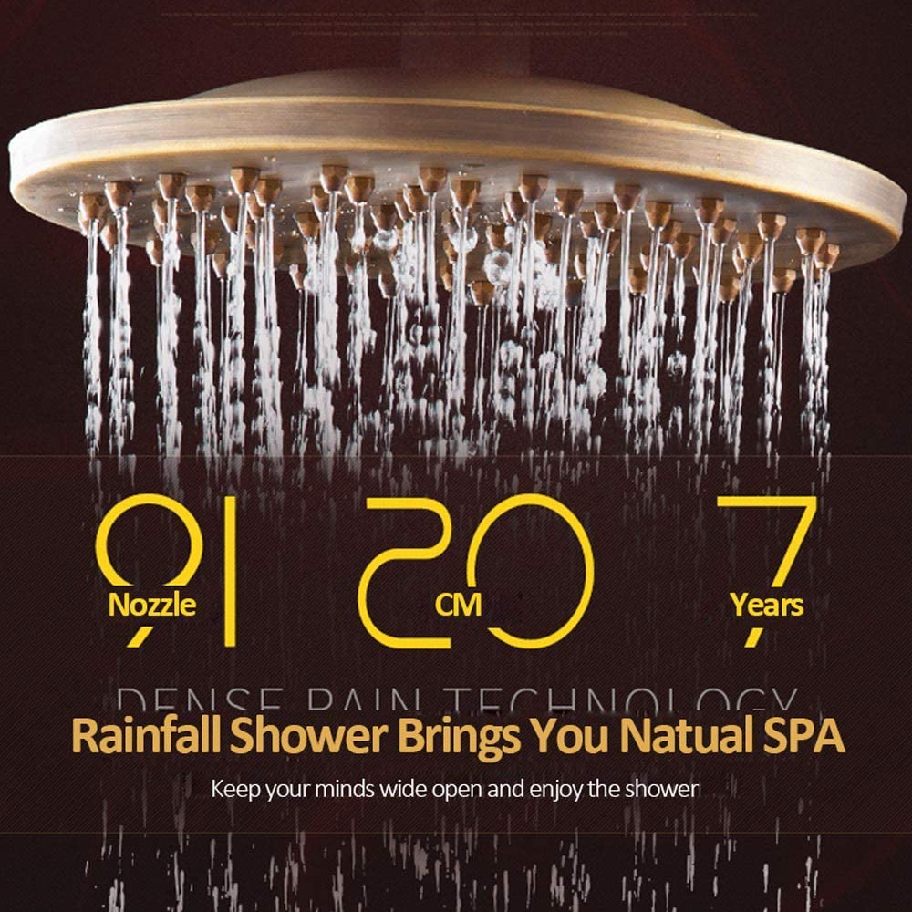 Suguword Bathroom Luxury Shower System,3-Way Wall Mounted Shower Mixer Set with 8Rainfall Shower Head Handheld Shower,Tub Spout Faucet and Storage Shelf,Antique Brass