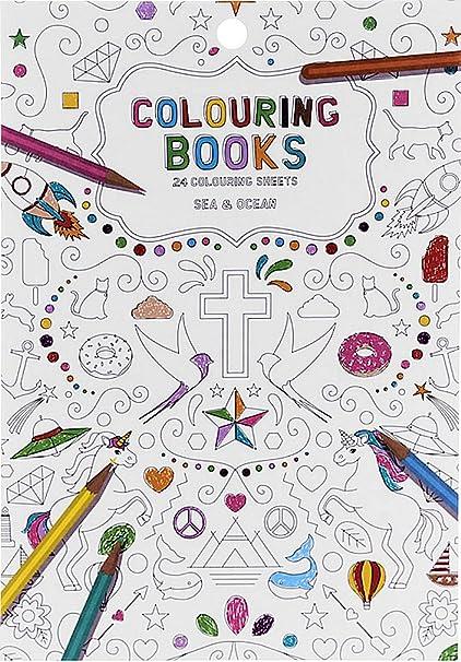 Libro para colorear para adultos, 24 Páginas, motivos: Mar & Océano ...