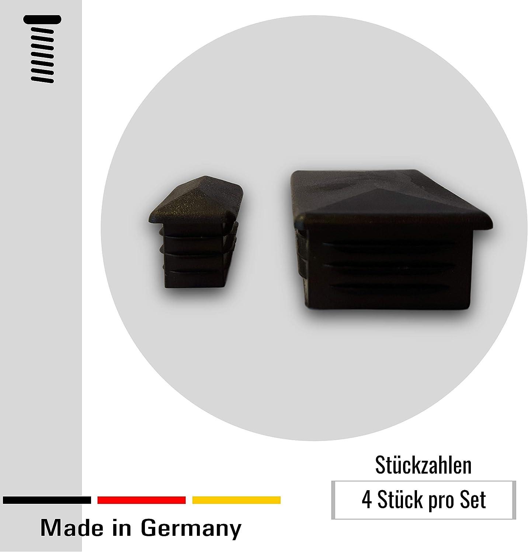 4 tapones decorativos//visibles para tubos rectangulares con un espesor de pared de 1,5-2 mm