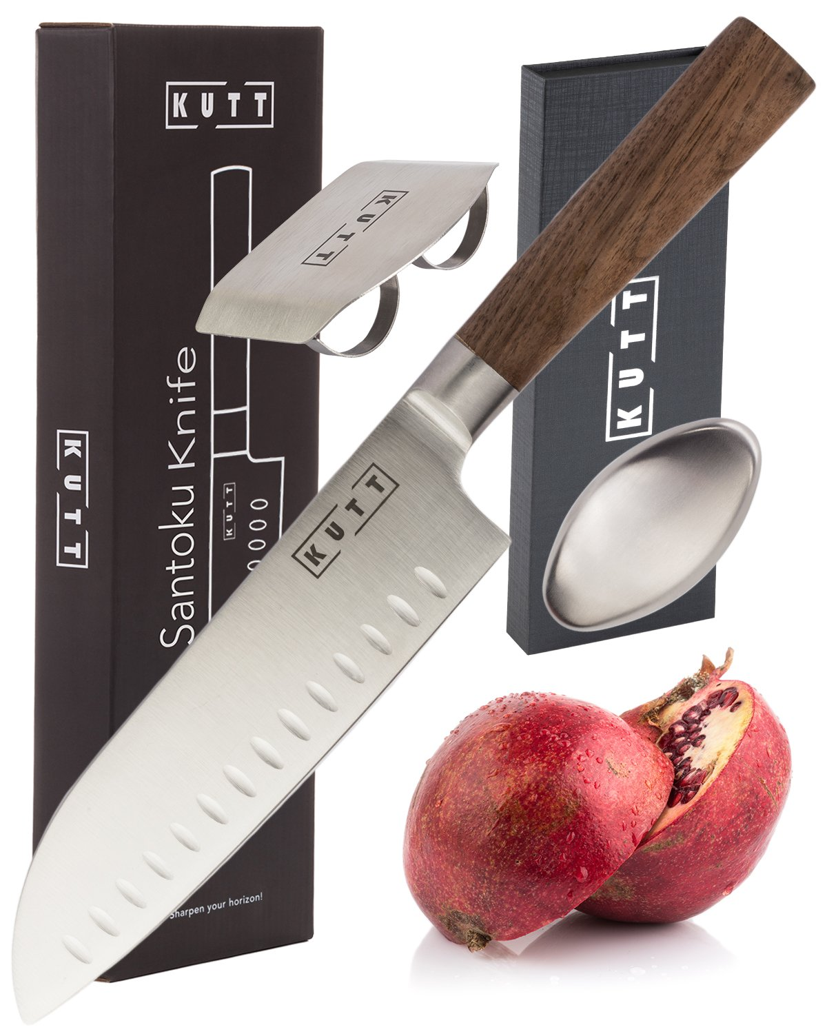 Kutt Santoku Knife | Razor Sharp and Rust-Free Professional Kitchen Knife | 7 Inch Chef's Knife German Stainless Steel Blade | Odor Remover and Finger Guard included in Luxury Gift Box