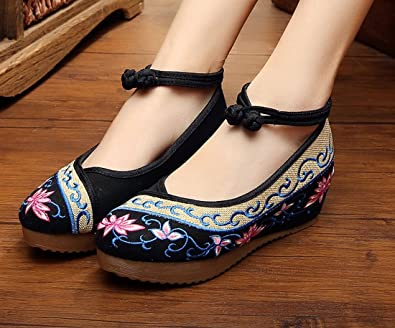 YL Women's Chinese Embroidery Wedge Mary Jane Shoes 4 Colors: Amazon.co.uk:  Shoes & Bags