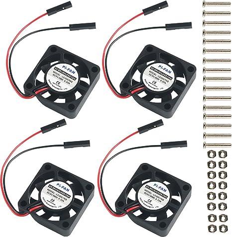 MakerHawk 4pcs Raspberry Pi DC Conector de separación de Ventilador de refrigeración sin escobillas 3.3V