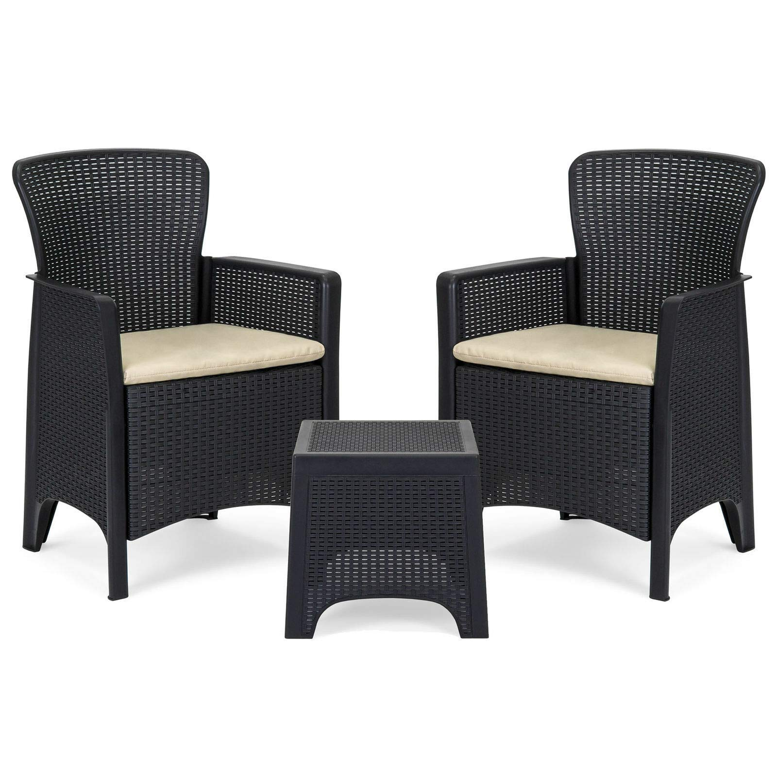 Dj_siphraya Table Chair Set Black Made of Polypropylene Plastic,Foam,Polyeste.Size: (LXWXH)Table15.5''x15.5''x15.5'',Chair: 23''x20''x34''.Seat:(LXW)19.5''x18.25'' Set of 3.Enjoy and durable style for outdoor