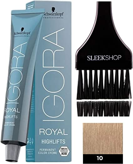 Schwarzkopf Igora Royal Highlifts permanente del pelo color crema (Con elegante Tinte cepillo del aplicador) Crema Color de pelo (10-0 Ultra Rubio)