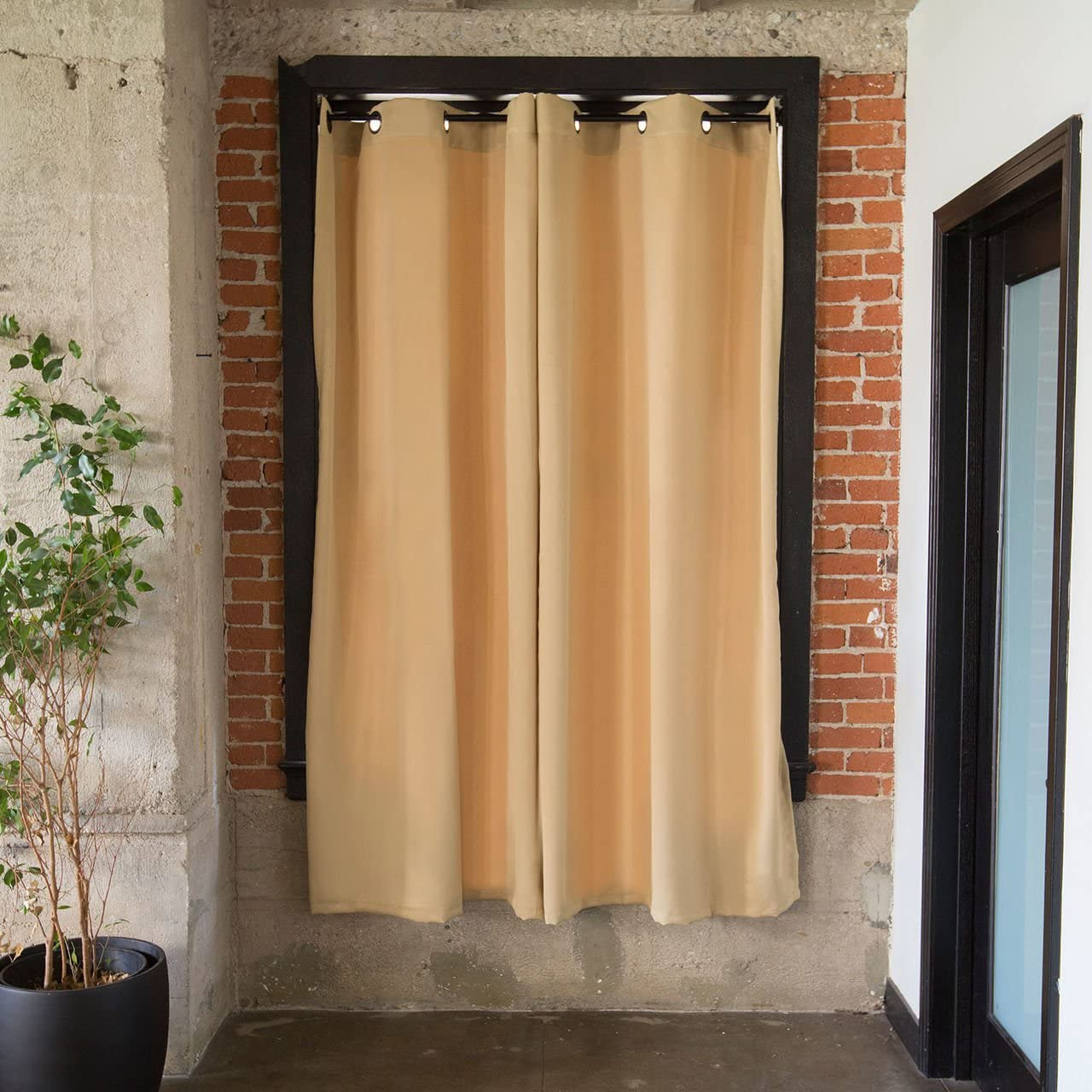 CurtainKitsNow Premium Heavyweight Tension Rod Curtain Kit – Large C, Includes Two Wheat 96 x 50 Wide Panels One 80 – 100 Tension Rod