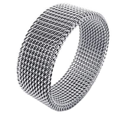 08172a66c KONOV 8mm Flexible Stainless Steel Screen Mens Womens Ring, Woven Mesh  Band, Size 7