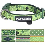 Best Adjustable Dog Collar - PetTastic Durable Soft & Heavy Duty with Cute Patrick's Green Design, Outdoor & Indoor use Comfort Dog Collar for girls, boys, puppy, adults, including ID Tag Ring