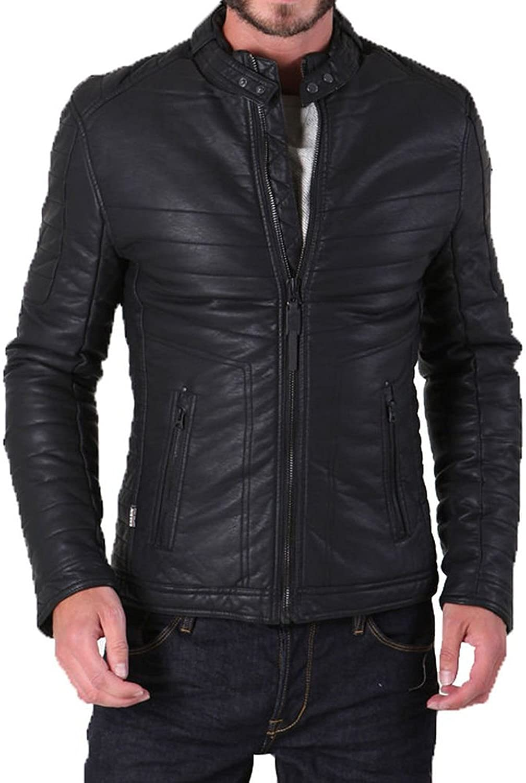 Men Leather Jacket Slim Fit Biker Motorcycle Genuine Cow Leather Jacket LFC686 L