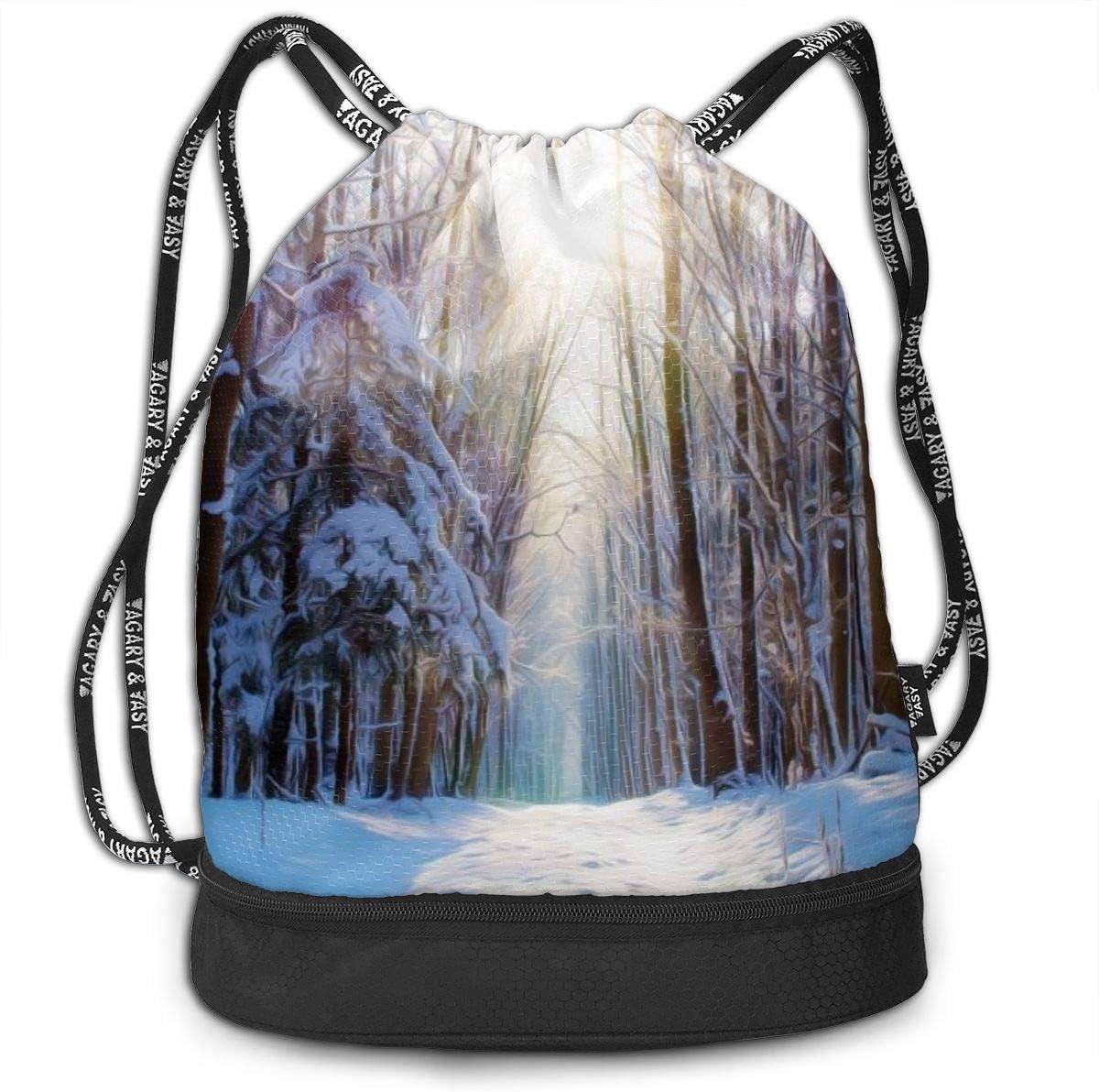 GymSack Drawstring Bag Sackpack Sunrise Of Snow Forest Sport Cinch Pack Simple Bundle Pocke Backpack For Men Women