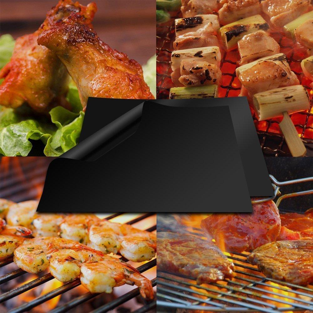 Estera Parrilla de Barbacoa Reutilizable 3 Piezas BBQ Grill Mat Antiadherentes Aprobado por la FDA para Parrilla de Carbón, Eléctrico y Gas: Amazon.es: ...