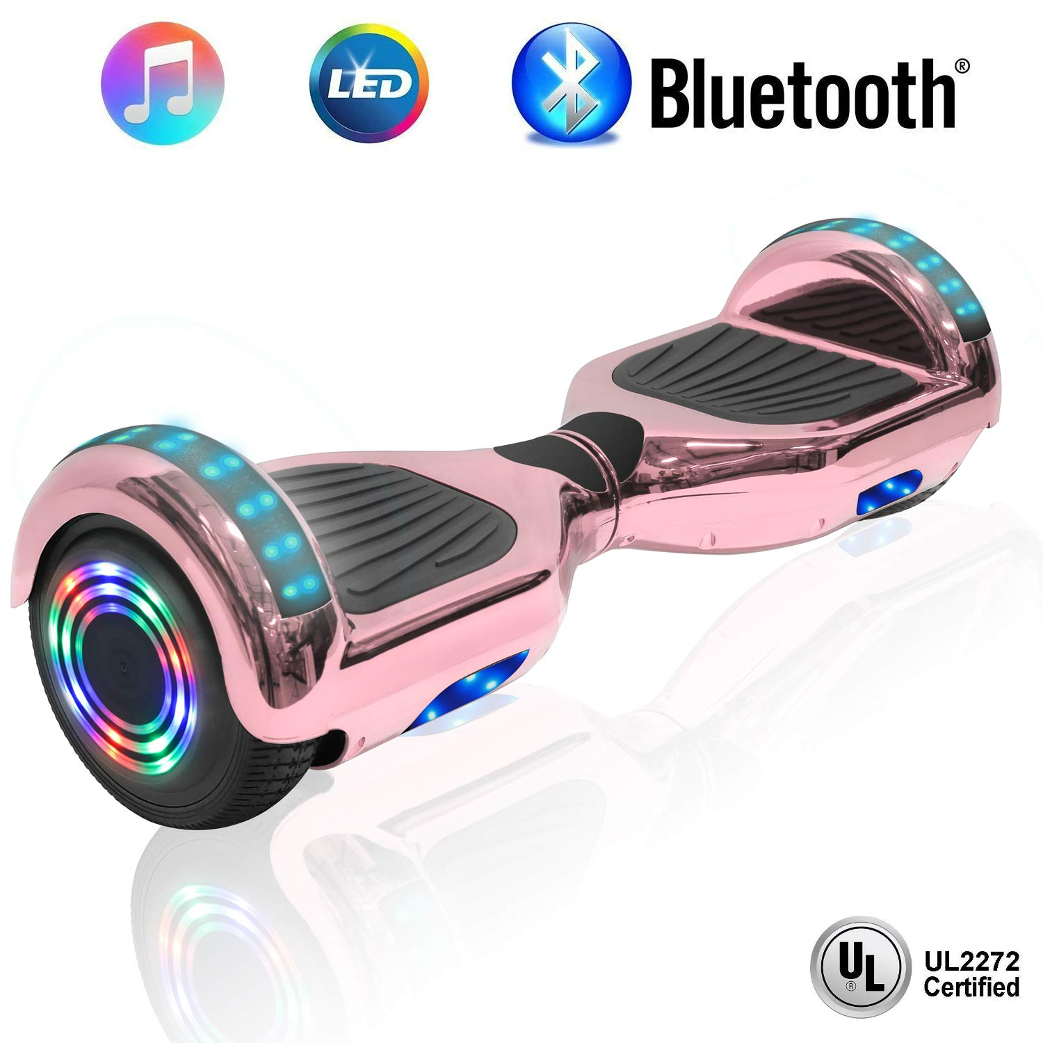 NHT 6.5'' Hoverboard Electric Self Balancing Scooter Sidelights - UL2272 Certified Black, Blue, Pink, Red, White or Chrome Style (Chrome Rose Gold) by NHT (Image #1)