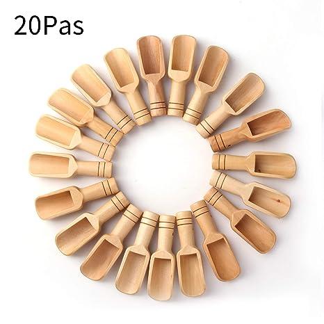 Amazon.com: Sansheng 20pcs Mini cuchara de madera, Mini ...