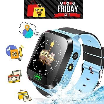 Ellbeka Smartwatch para Niños, Llamada de Emergencia SOS, localizador GPS, Perímetro de Seguridad, Cámera, Alarma, Linterna, Juegos Digitales, Reloj ...