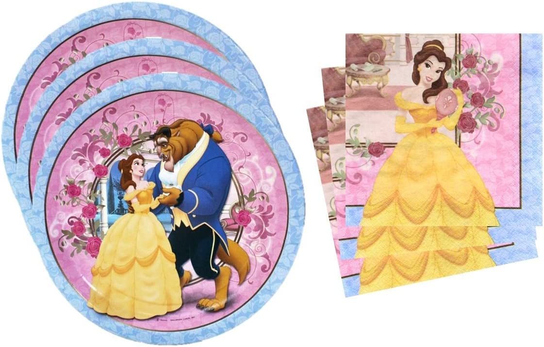 B00RKCHWRA Beauty and the Beast Belle Birthday Party Supplies Set Large Plates & Napkins Tableware Kit for 16 71Kkv9I47QL