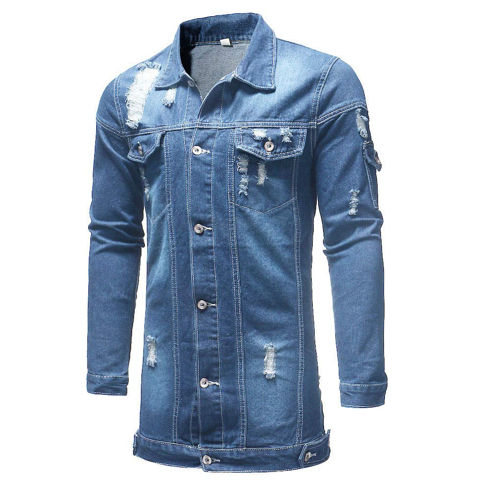 2019 Latest Hot Style!! Teresamoon Mens Autumn Winter Casual Vintage Wash Distressed Denim Jacket Coat Top Blouse