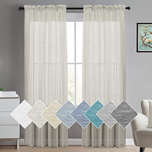 Turquoize Decorative Linen Sheer Curtains Extra Long Curtains for Living Room Curtain Drapes 108 Inches Long Natural Open Weave Linen Curtains Rod Pocket Linen Look Curtain Panels, Set of 2, Natural