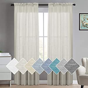 Turquoize Natural Linen Blended Window Curtain Panels Semi Sheer Curtains 84 Inches Long - Rod Pocket Burlap Curtains Light Filtering Semi Sheers Curtains for Bedroom/Living Room (Set of 2, Natural)