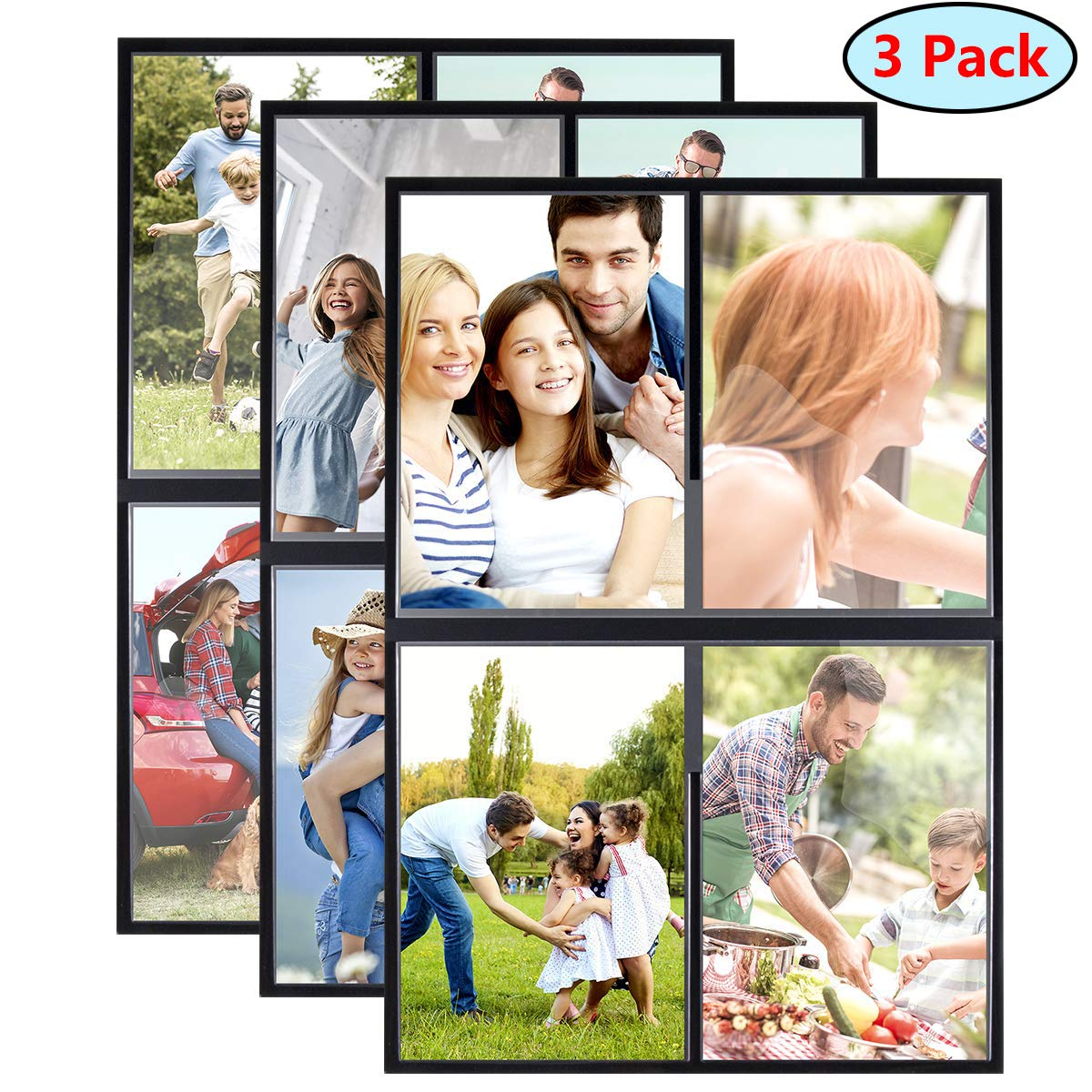 HIIMIEI 4x6 Inch Refrigerator Magnetic Picture Frames, Fridge Magnet Photo Pocket Frames, 3 Pack Total Hold 12 Pictures by HIIMIEI