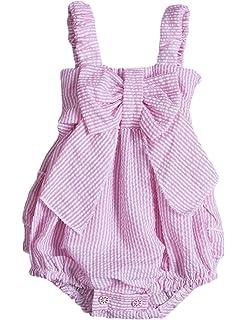 c145e619868 Charm Kingdom Baby Girls Striped Seersucker Bubble Straps Ruffle Layers  Bowknot Romper