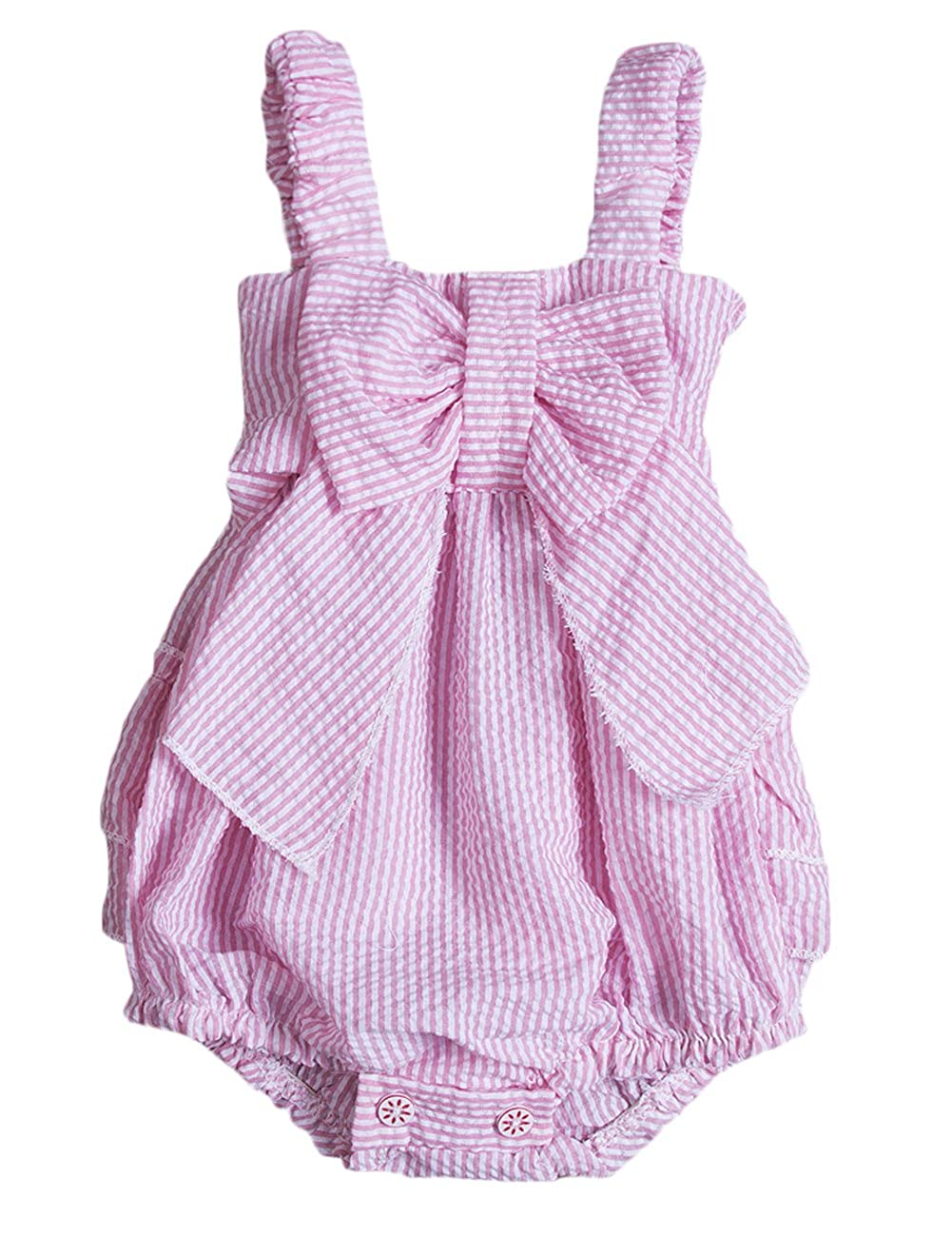 Baby Girls Striped Seersucker Bubble Straps Ruffle Layers Bowknot Romper