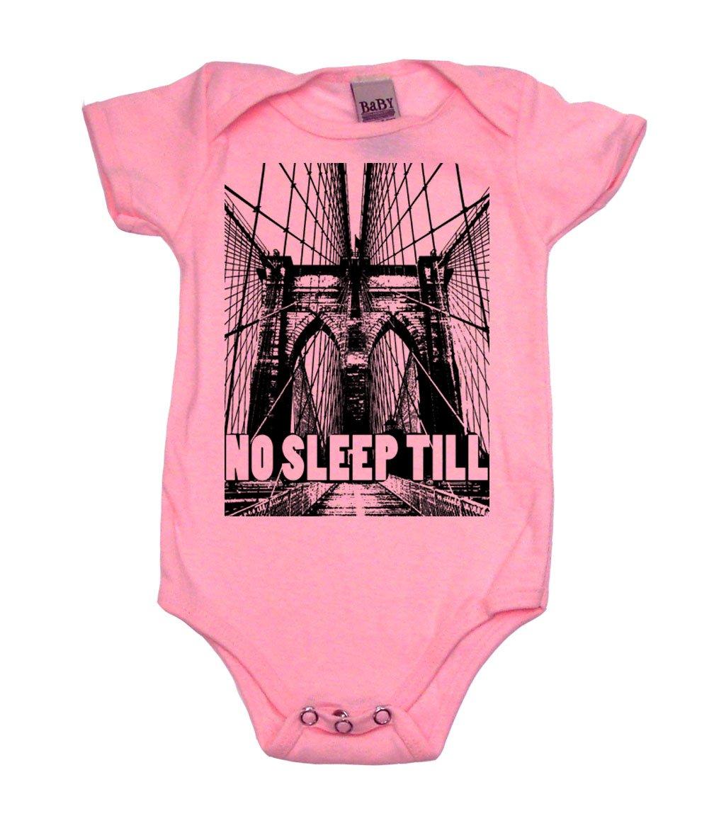 No Sleep Till Brooklyn Girl Baby Bodysuit, 6-12 mo, Pink