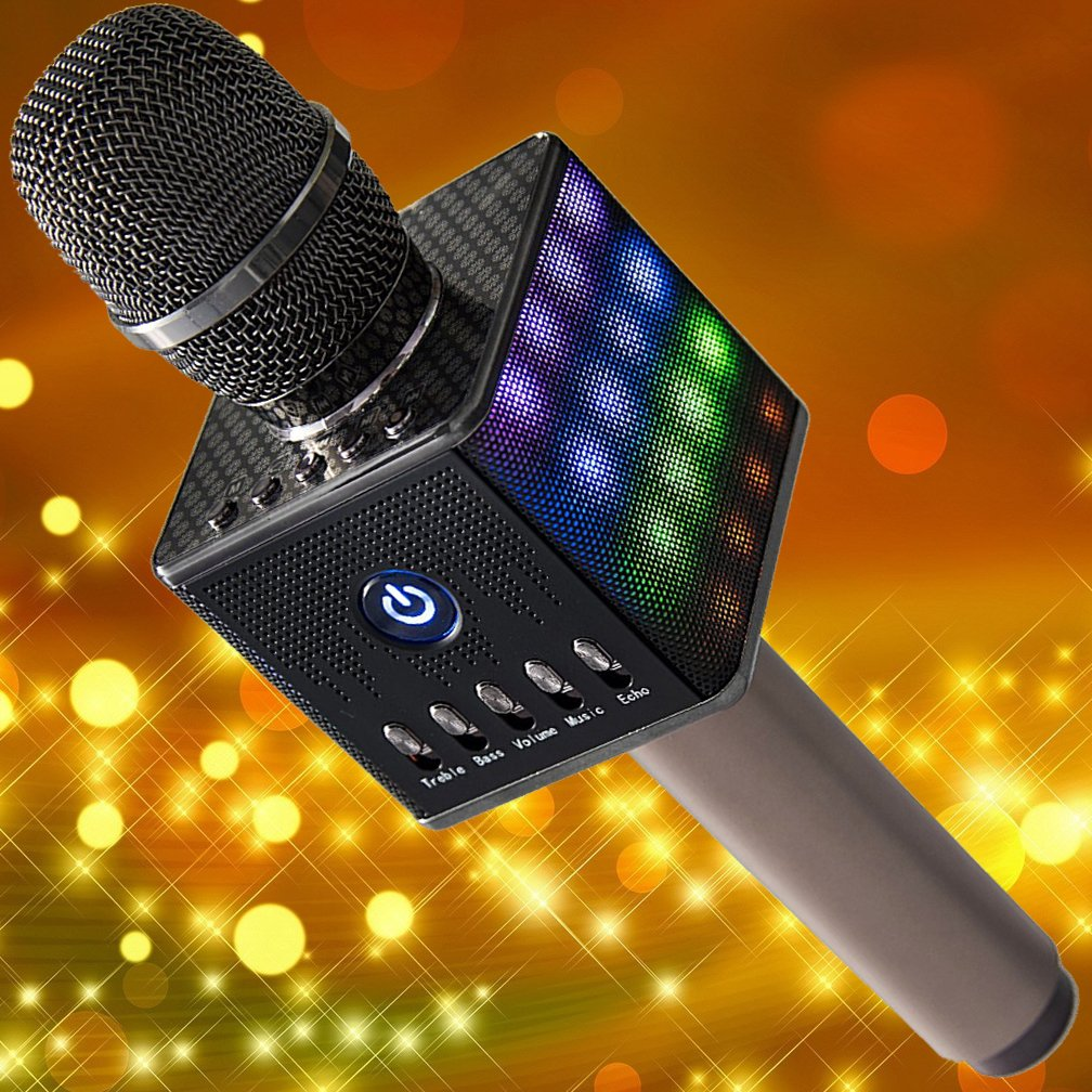 [SALE] Wireless Karaoke Microphone H8 - Portable Handheld Karaoke Machine with Built-In Speakers, 2600 MAH Battery Phone Holder and Case - For Apple iOS Android Smartphones and Tablets by KaraokeQueen