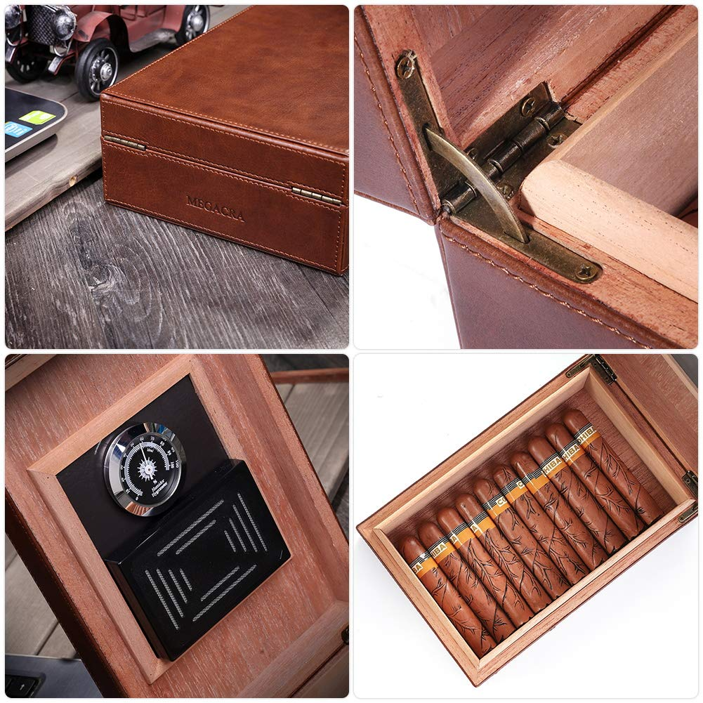MEGACRA Cedar Cigar Humidor, Leather Cigar Box with Hygrometer and Humidifier Portable Travel Cigar Humidor Holds 10-20 Cigars by MEGACRA (Image #4)