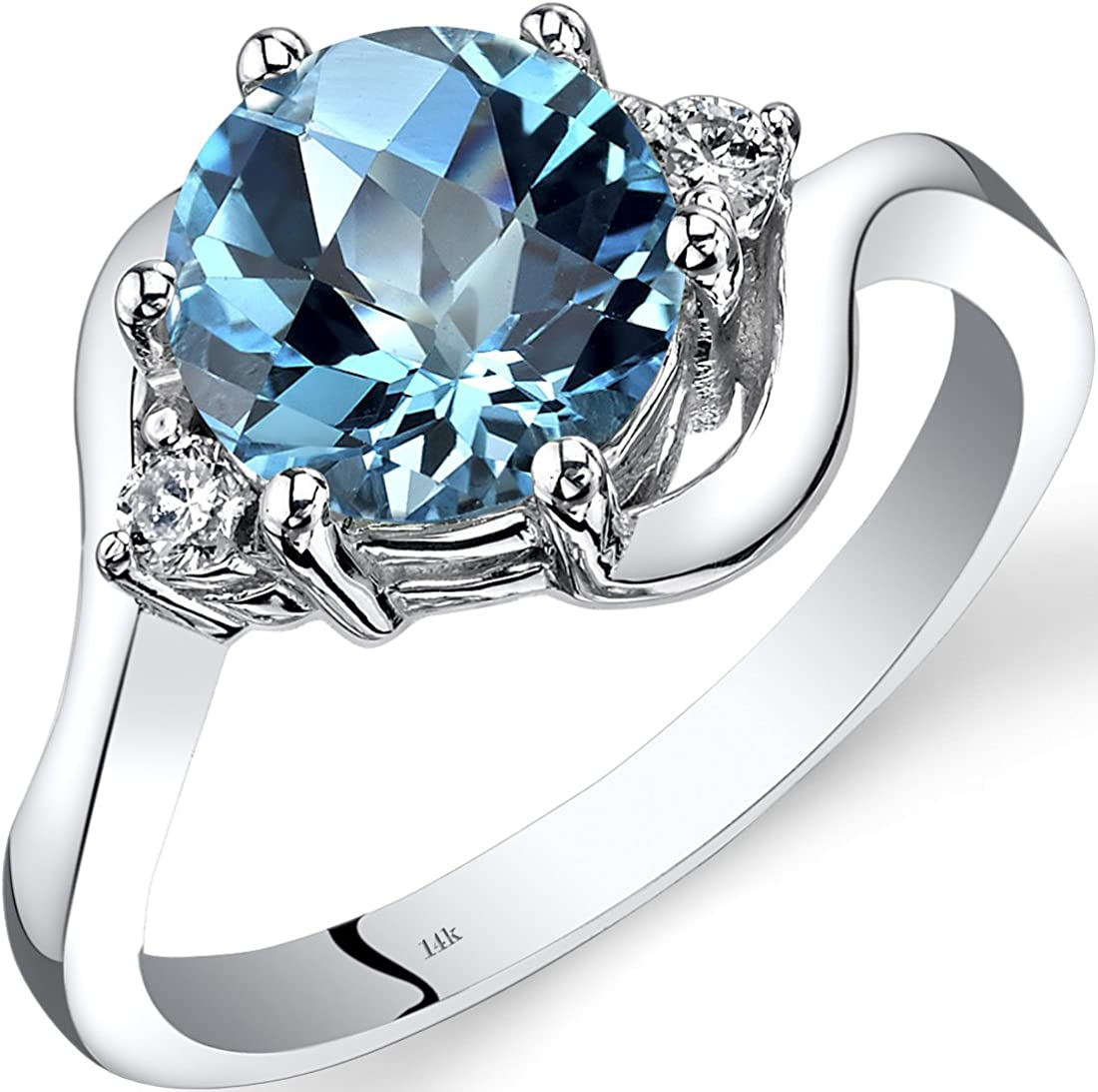 Amazon Com 14k White Gold Swiss Blue Topaz Diamond 3 Stone Ring 2 25 Carat Jewelry
