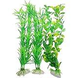 CNZ 3-piece Aquarium Plastic Artificial Plants, 9.8-inch Tall