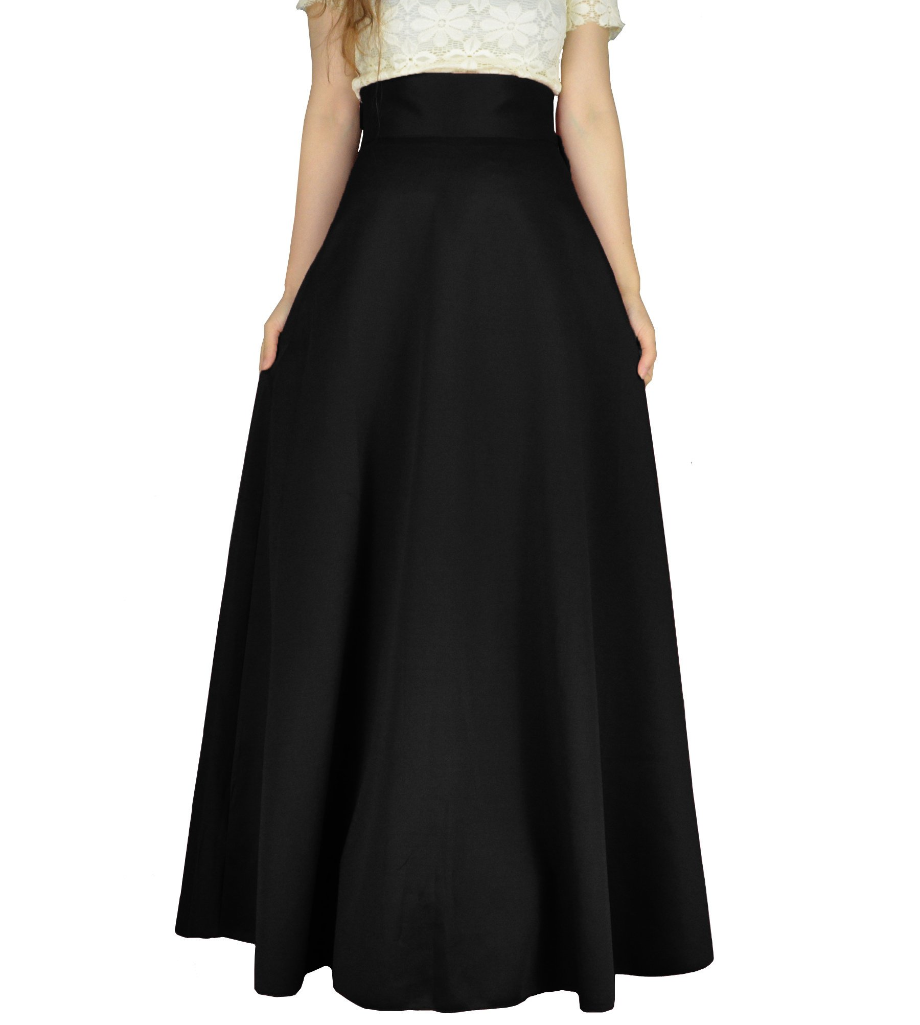 YSJERA Women's High Waist A-Line Pleated Solid Vintage Swing Maxi Skirts Midi Skirt Party (S, Black Long)