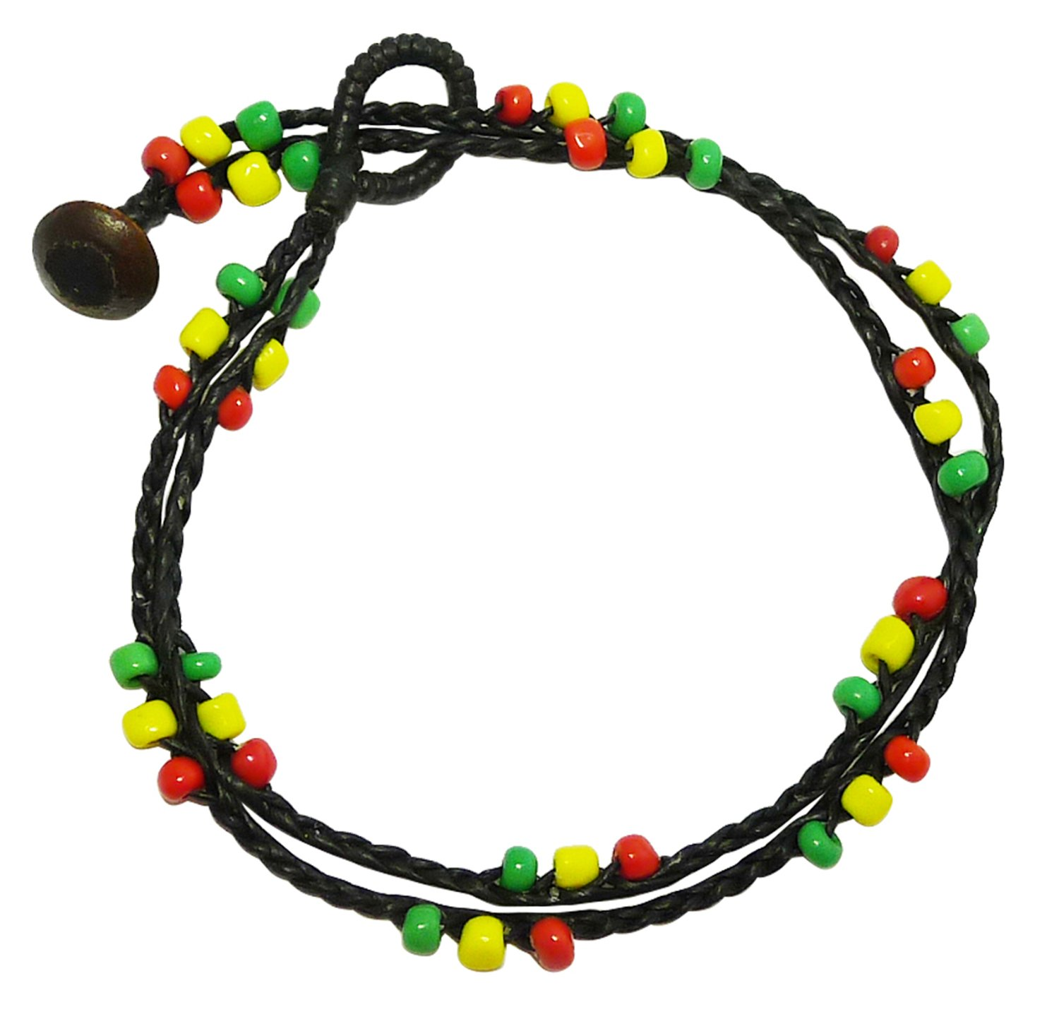 BDJ Handmade 2 Row Rasta Colors Glass Bead Station Black Cord Anklet Bracelet 10 Inches (AkSP04)