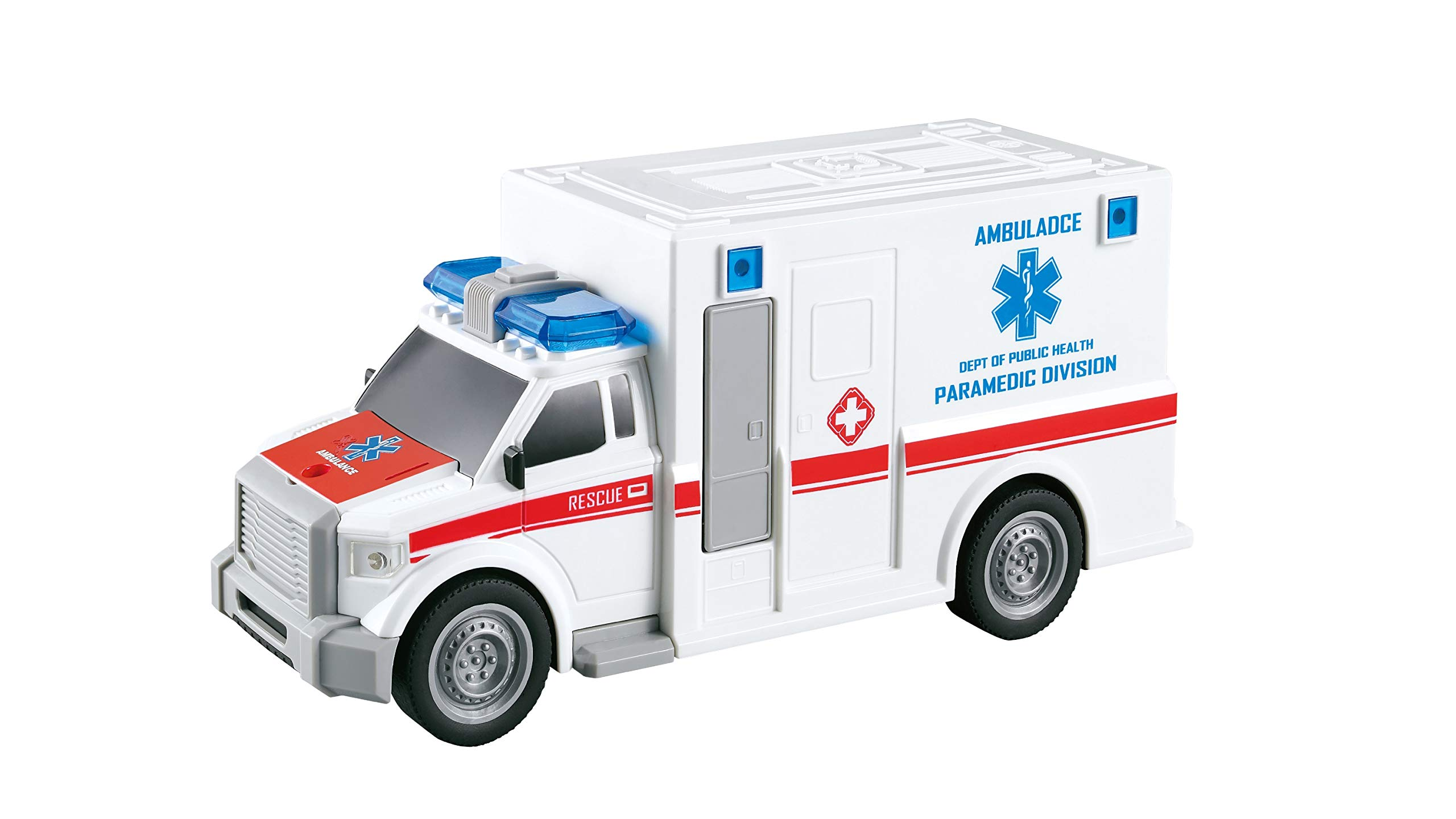 City Service Ambulance Toy Car for Kids with Lights and Siren Sounds - Friction Powered Vehicle - Emergency Medical Rescue Truck - Fun Play for Your Little Paramedic