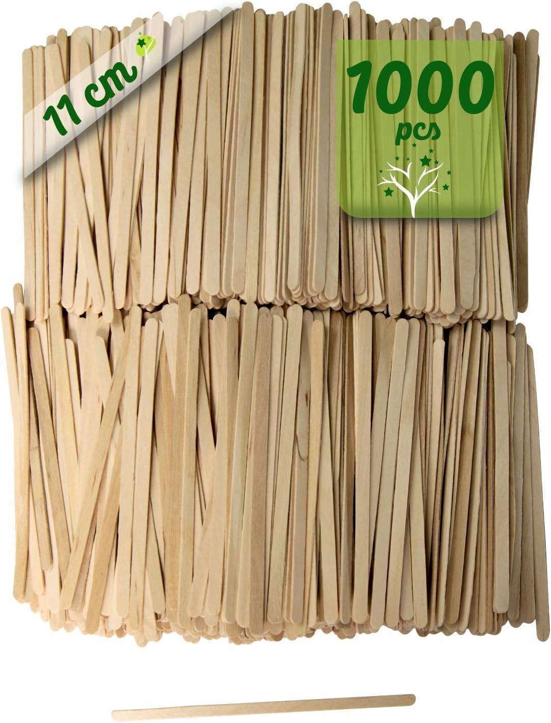 1000 paletinas de café de Madera. Palitos de café Desechables, Palitos removedores de café biodegradables de 11 cm de Longitud, agitadores de café y te.