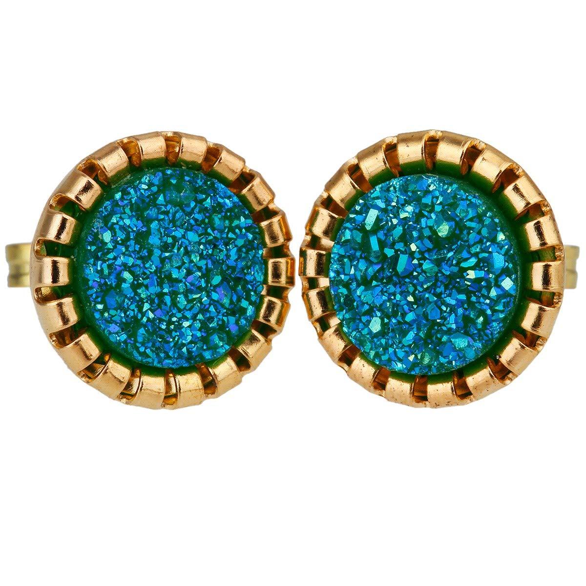 SUNYIK Womens Natural Quartz Geode Druzy Stud Earrings,Earrings for Women