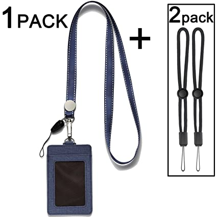 d51b7fda8980 ID Badge Holders with Neck Lanyards,2-Sided Vertical PU Leather ID Card  Badge Holder with 1 ID Window and 2 Card Slot and 1 Piece Polyester  Detachable ...