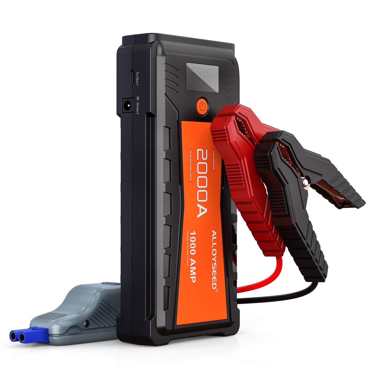 Alloyseed Car Jump Starter, 2000A Peak 20000mAh Battery Booster(up to 8.0L Gas or 8.0L Diesel Engine), 12V Auto Power Pack and Portable Dual USB Phone Charger with LED Light