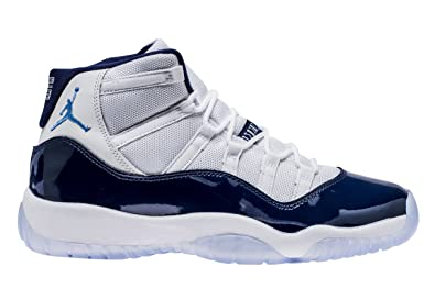 good out x official supplier new concept NIKE Air Jordan 11 Retro Herrenschuhe aus weißem Stoff und blauem Leder  378038-123