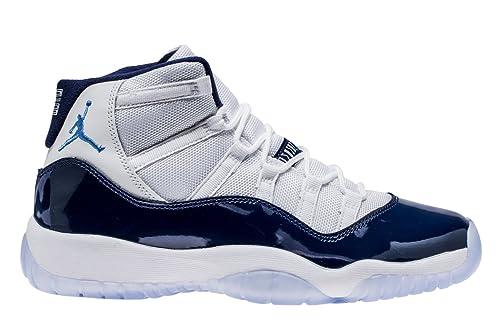 190fa392a42 Zapatillas NIKE Air Jordan 11 Retro para Hombre en Tejido Blanco y Piel Azul  378038-123  Amazon.es  Zapatos y complementos