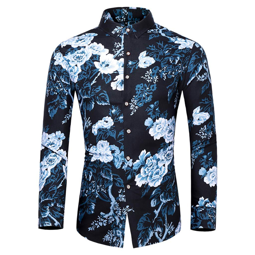 Allywit M-5XL Mens Floral Print Casual Long Sleeve Shirts Slim Fit Button Down Dress Business Shirt