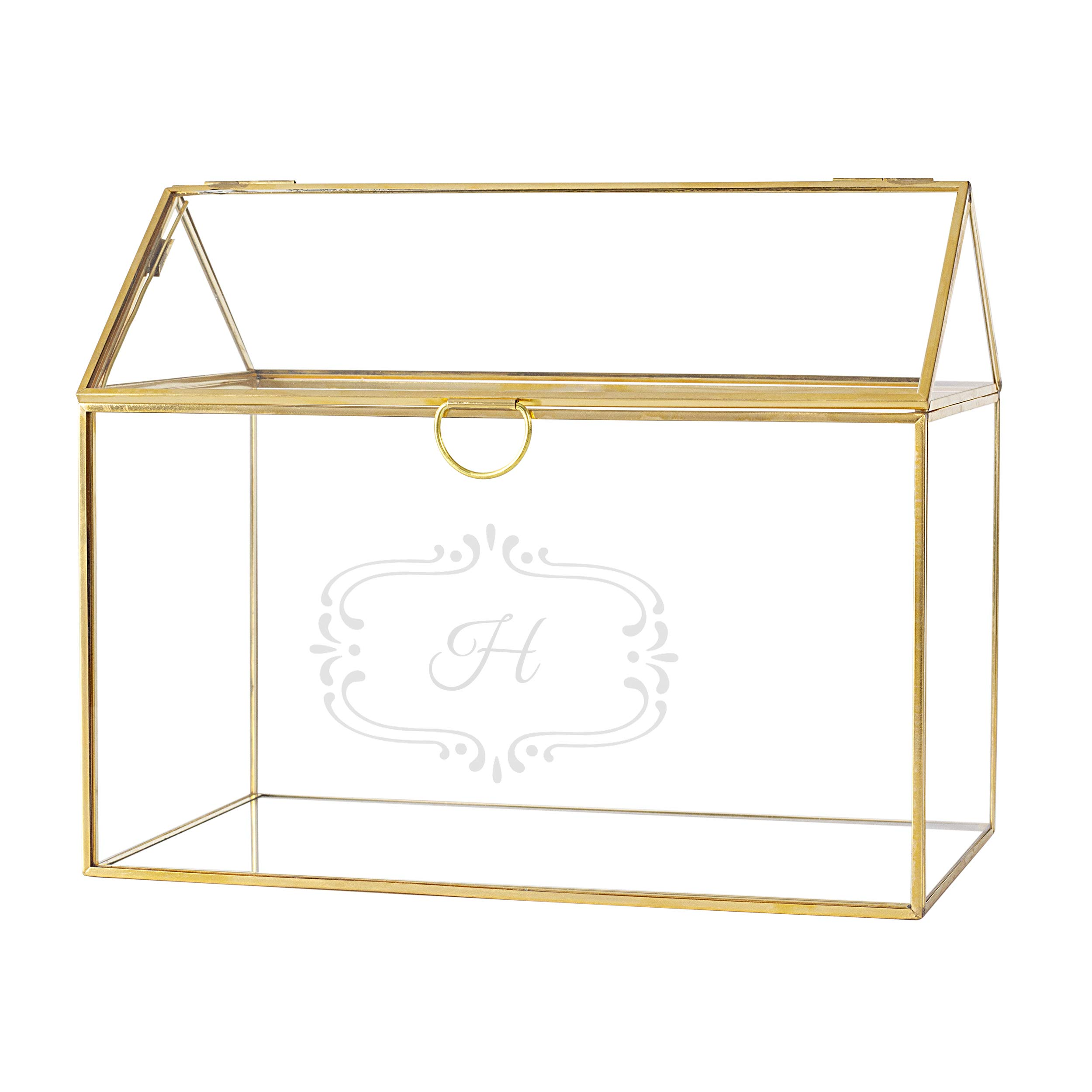 Cathy's Concepts Personalized Glass Terrarium Reception Gift Card Holder, Gold